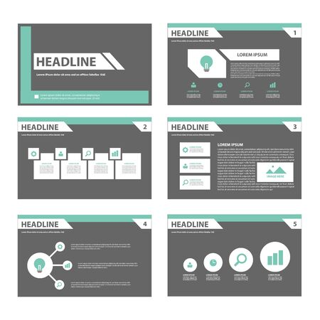 business report: Black and green infographic element for presentation brochure flyer leaflet flat design