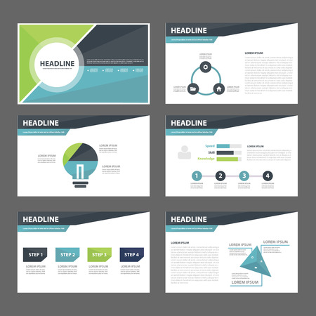 layout template: Blue and Green infographic element for presentation brochure flyer leaflet flat design