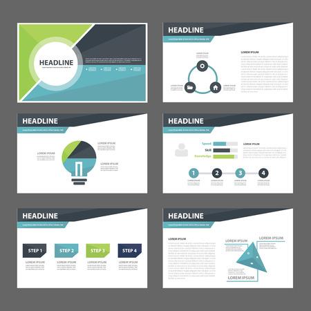 plantilla: Elemento de infografía azul y verde de diseño plano folleto folleto folleto de presentación