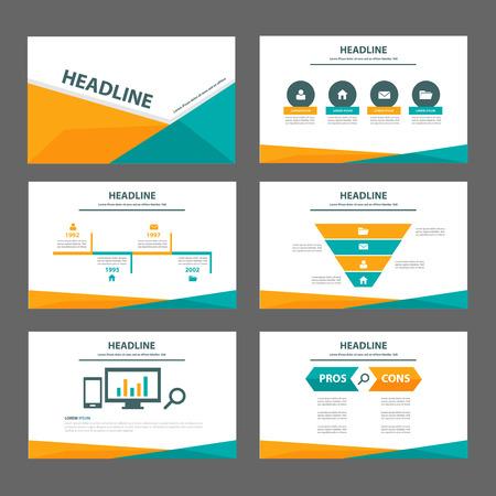 naranja: Naranja y elemento de infografía Verde para el aviador folleto de presentación PROSPECTO diseño plano