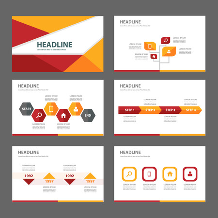yellow orange red infographic element for presentation brochure flyer leaflet flat design  イラスト・ベクター素材