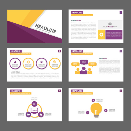advertising template: purple and yellow infographic element for presentation brochure flyer leaflet flat design