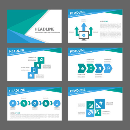 template: Blue and green infographic element for presentation brochure flyer leaflet flat design Illustration