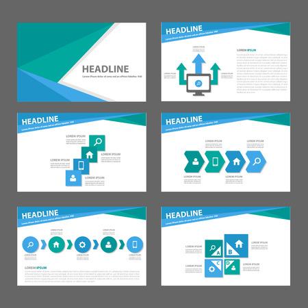 presentation icon: Blue and green infographic element for presentation brochure flyer leaflet flat design Illustration