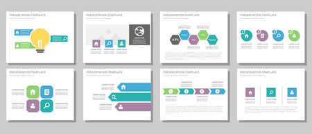 business report: purple and green blue infographic element for presentation brochure flyer leaflet flat design Illustration