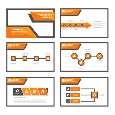 business report: Orange multipurpose infogaphic presentation templates flat design set for advertising and marketing