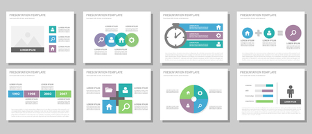 presentation people: Purple green blue multipurpose infogaphic presentation templates flat design set for advertising and marketing