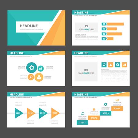 plantilla: Naranja y verde azules plantillas de presentación infogaphic polivalentes conjunto diseño plano para la publicidad y el marketing Vectores