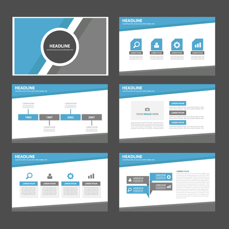 Blue and grey multipurpose infographic presentation templates flat design set for brochure flyer marketing advertising