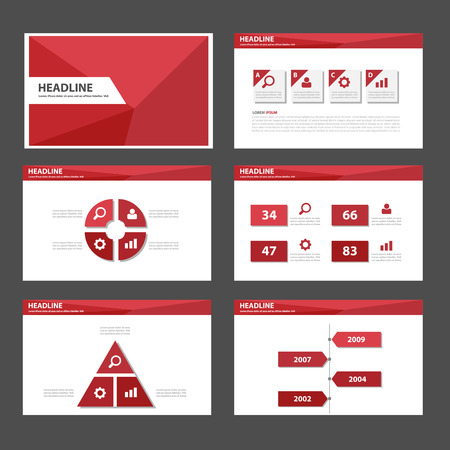 powerpoint: Red Polygon multipurpose infographic presentation templates flat design set for brochure flyer marketing advertising