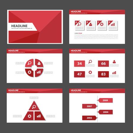 Rode Polygon multifunctionele infographic presentatiesjablonen platte ontwerp set voor brochure flyer marketing reclame Stockfoto - 44563000