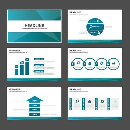 Blue polygon multipurpose infographic presentation templates flat design set for brochure flyer marketing advertising Illustration