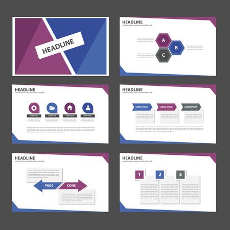 morado: Elementos p�rpuras y azules Multiusos Infograf�a y el icono de plantilla de presentaci�n conjunto dise�o plano para la comercializaci�n publicitaria de viajero folleto folleto