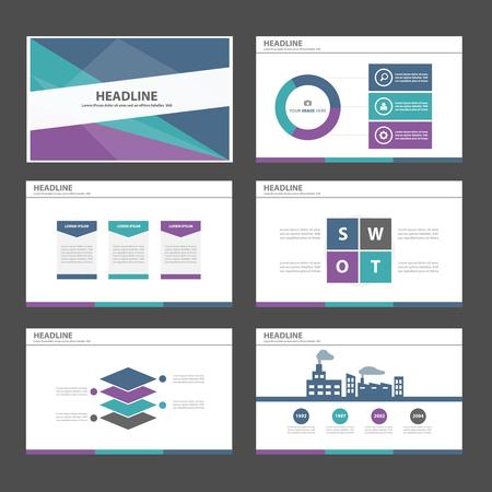 광고 마케팅 브로셔 전단지 전단지를위한 자주색 녹색, 파랑 다목적 인포 그래픽 요소와 아이콘 프리젠 테이션 템플릿 평면 디자인 세트