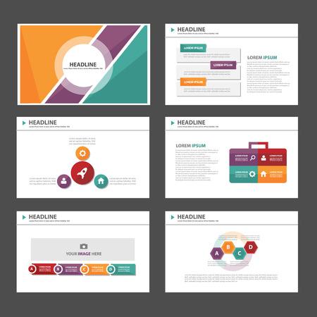 Naranja verde elementos de Usos Múltiples de Infografía púrpura y el icono de plantilla de presentación conjunto diseño plano para la comercialización publicitaria de viajero folleto folleto Foto de archivo - 44893006