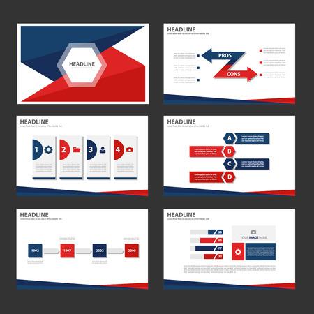광고 마케팅 브로셔 전단지 전단지 빨간색 파란색 다목적 인포 그래픽 요소와 아이콘 프리젠 테이션 템플릿 평면 디자인 세트
