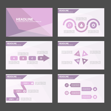 magazine layout design template: Elegant Purple Multipurpose Infographic elements and icon presentation template flat design set for advertising marketing brochure flyer leaflet Illustration
