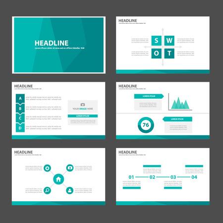 the brochure: Elementos Verde Multiusos Infograf�a elegantes y el icono de plantilla de presentaci�n conjunto dise�o plano para la comercializaci�n publicitaria de viajero folleto folleto Vectores