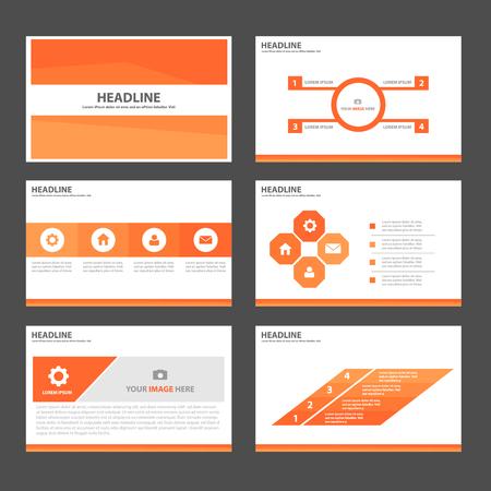 presentation template: Orange Multipurpose Infographic elements and icon presentation template flat design set for advertising marketing brochure flyer leaflet Illustration