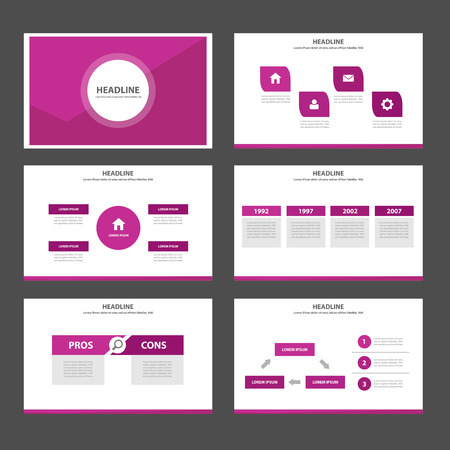 magazine page: Pink Multipurpose Infographic elements and icon presentation template flat design set for advertising marketing brochure flyer leaflet