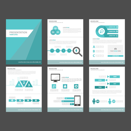 sjabloon: 6 Blue Multipurpose Infographic elementen en het pictogram presentatiesjabloon plat ontwerp set voor reclame marketing brochure flyer leaflet Stock Illustratie