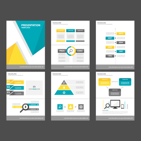roadmap: 6 Blue yellow Multipurpose Infographic elements and icon presentation template flat design set for advertising marketing brochure flyer leaflet