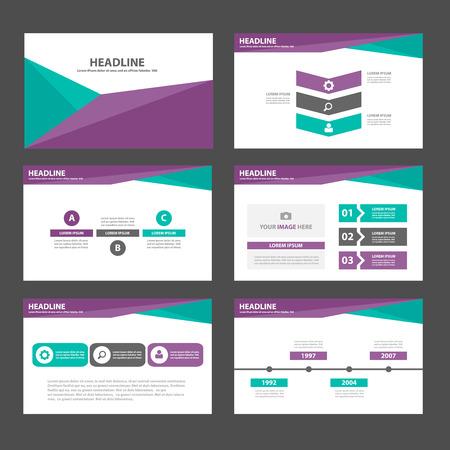 6 그린 퍼플 다목적 인포 그래픽 광고 마케팅 브로셔 전단지 전단지 요소 및 아이콘 프리젠 테이션 템플릿 평면 디자인 세트 일러스트