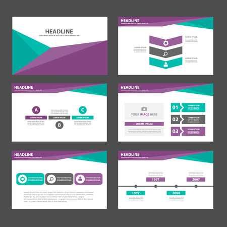 6 Green Purple Multipurpose Infographic elements and icon presentation template flat design set for advertising marketing brochure flyer leaflet