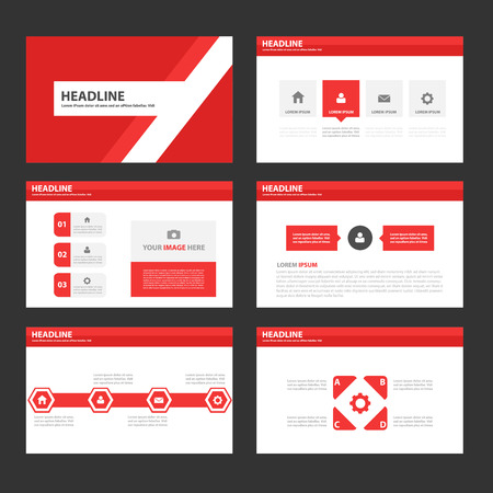template: Red Multipurpose Infographic elements and icon presentation template flat design set for advertising marketing brochure flyer leaflet Illustration