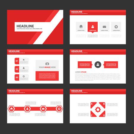 sjabloon: Rode Multipurpose Infographic elementen en het pictogram presentatiesjabloon platte ontwerp set voor reclame marketing brochure flyer leaflet Stock Illustratie