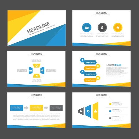 sjabloon: Blauw en geel Multipurpose Infographic elementen en het pictogram presentatiesjabloon platte ontwerp set voor reclame marketing brochure flyer leaflet