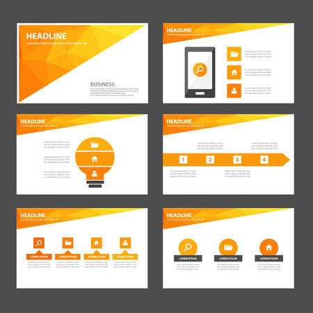 for advertising: Orange polygon Multipurpose Infographic elements and icon presentation template flat design set for advertising marketing brochure flyer leaflet Illustration
