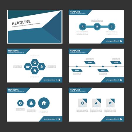 presentation template: Blue polygon Multipurpose Infographic elements and icon presentation template flat design set for advertising marketing brochure flyer leaflet Illustration