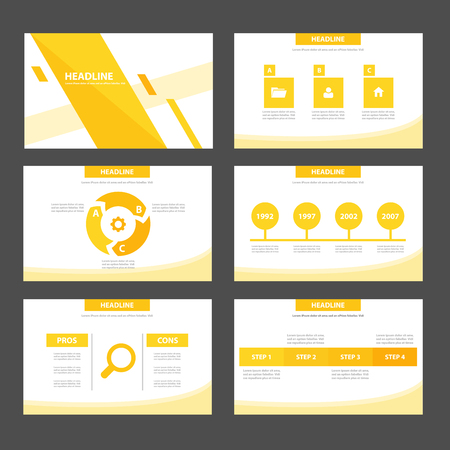 magazine layout: Yellow Multipurpose Infographic elements and icon presentation template flat design set for advertising marketing brochure flyer leaflet