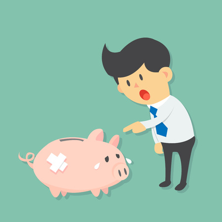 cry icon: Businessman point and ask sad injured piggy bank for his or he problems