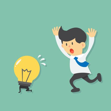 escape: Running Businessman try to catch light bulb idea, light bulb escape from businessman by running  flat design vector