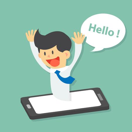 sorpresa: Hombre de negocios divertido sorpresa surge del teléfono inteligente y decir hola, video conferencia, la aplicación móvil diseño plano vectorial