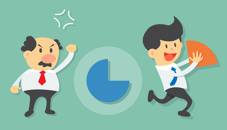 run away: Young businessman steal and take away market share pie chart from angry old businessman flat design vector