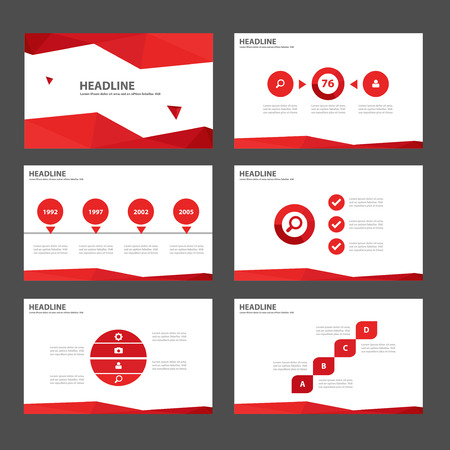 web template: Red Multipurpose Infographic elements and icon presentation template flat design set for advertising marketing brochure flyer leaflet Illustration