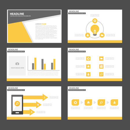 Black and yellow Multipurpose Infographic elements and icon presentation template flat design set for advertising marketing brochure flyer leaflet