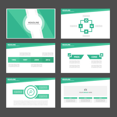 sjabloon: Groene thema Multipurpose Infographic elementen en het pictogram presentatiesjabloon platte ontwerp set voor reclame marketing brochure flyer leaflet