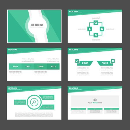 Tema verde Multiusos Infografía elementos y icono de presentación plantilla de conjunto de diseño plano para la comercialización publicitaria de viajero folleto folleto Foto de archivo - 45843414