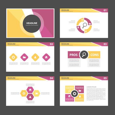 Elementos de Usos Múltiples de Infografía púrpuras y amarillas y el icono de la plantilla de presentación conjunto diseño plano para la comercialización publicitaria de viajero folleto folleto Foto de archivo - 45843419