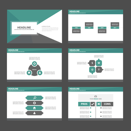 Green blue theme Multipurpose Infographic elements and icon presentation template flat design set for advertising marketing brochure flyer leaflet Illustration