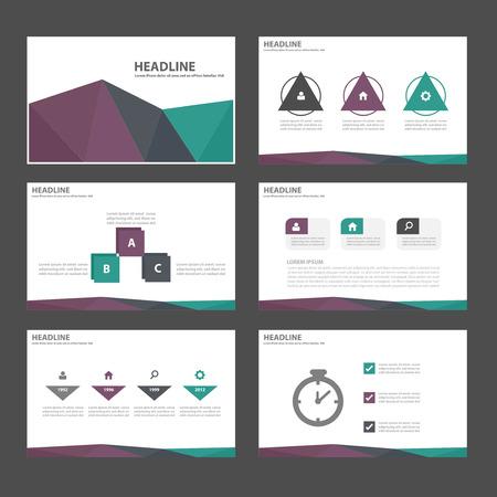 광고 마케팅 브로셔 전단지 전단지 그린 퍼플 블랙 다목적 인포 그래픽 요소와 아이콘 프리젠 테이션 템플릿 평면 디자인 세트