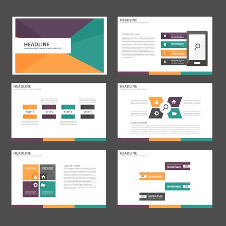 Naranja verde elementos de Usos Múltiples de Infografía púrpura y el icono de plantilla de presentación conjunto diseño plano para la comercialización publicitaria de viajero folleto folleto Foto de archivo - 46072475