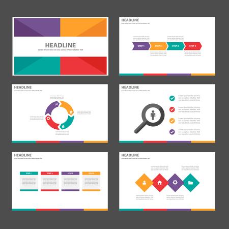 광고 마케팅 브로셔 전단지 전단지에 대한 보라색, 녹색, 오렌지 레드 다목적 인포 그래픽 요소와 아이콘 프리젠 테이션 템플릿 평면 디자인 세트