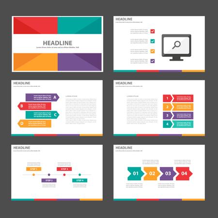 Paars groen oranje rood Multipurpose Infographic elementen en het pictogram presentatiesjabloon platte ontwerp set voor reclame marketing brochure flyer leaflet