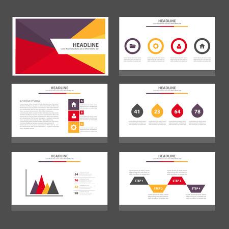 sjabloon: Rood geel paars Multipurpose Infographic elementen en het pictogram presentatiesjabloon platte ontwerp set voor reclame marketing brochure flyer leaflet Stock Illustratie