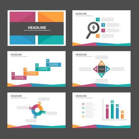 광고 마케팅 브로셔 전단지 전단지에 대한 보라색, 파란색, 노란색, 녹색 다목적 인포 그래픽 요소와 아이콘 프리젠 테이션 템플릿 평면 디자인 세트